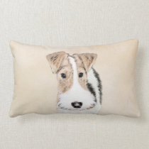 Wire Fox Terrier Painting - Cute Original Dog Art Lumbar Pillow