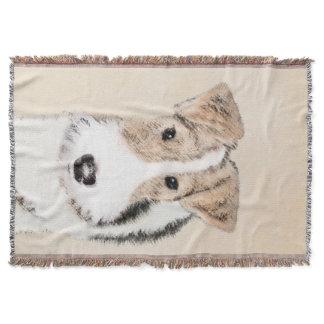 Wire Fox Terrier Painting - Cute Original Dog Art Throw Blanket