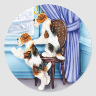 Wire Fox Terrier Parlor Pals Classic Round Sticker