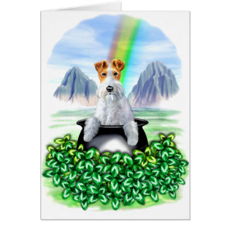 Wire Fox Terrier Pot O Gold Greeting Cards