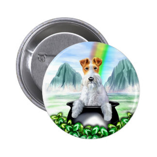 Wire Fox Terrier Pot O Gold Pinback Button