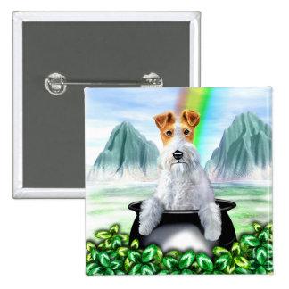 Wire Fox Terrier Pot O Gold Pinback Buttons