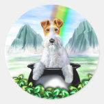 Wire Fox Terrier Pot O Gold Round Stickers