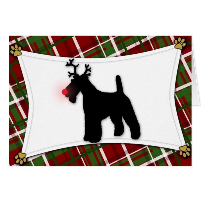 Wire Fox Terrier Reindeer Christmas Card