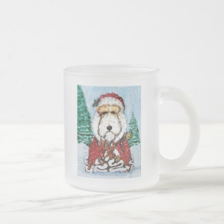 Wire Fox Terrier Santa Frosted Glass Coffee Mug