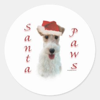 Wire Fox Terrier Santa Paws Round Sticker