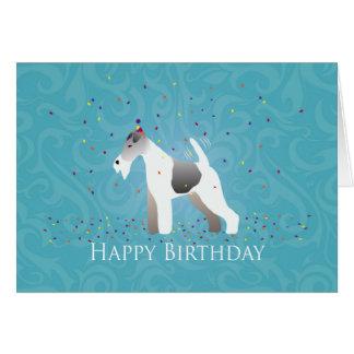 Wire Fox Terrier Silhouette Birthday Design Card