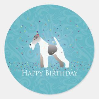 Wire Fox Terrier Silhouette Birthday Design Classic Round Sticker