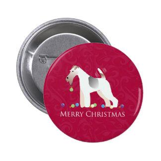 Wire Fox Terrier Silhouette Christmas Design Button