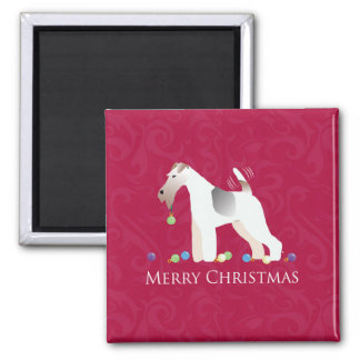 Wire Fox Terrier Silhouette Christmas Design Magnet