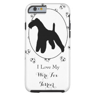 Wire Fox Terrier Silhouette Hearts and Paw Prints Tough iPhone 6 Case