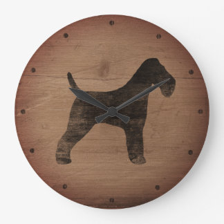 Wire Fox Terrier Silhouette Rustic Large Clock