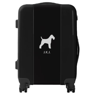 Wire Fox Terrier Silhouette with Custom Text Luggage