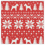 Wire Fox Terrier Silhouettes Christmas Pattern Fabric
