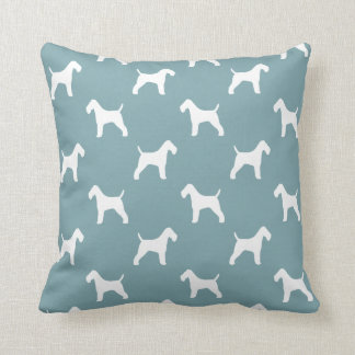 Wire Fox Terrier Silhouettes Pattern Throw Pillow