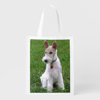 wire fox terrier sitting.png reusable grocery bag
