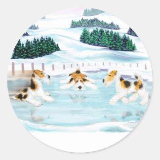 Wire Fox Terrier Skate Date Classic Round Sticker