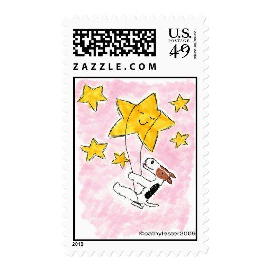 Wire fox terrier swingin' on a star postage