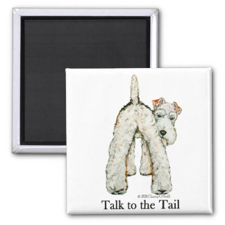 Wire Fox Terrier Tail 2 Inch Square Magnet