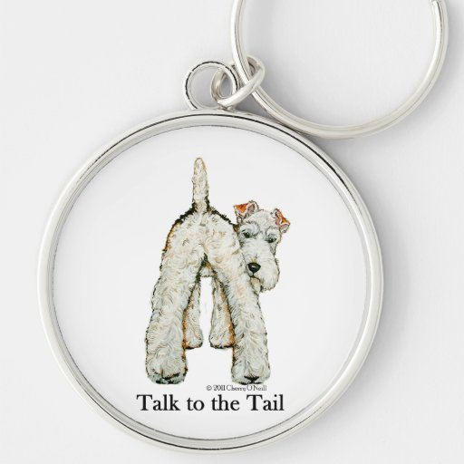 Wire Fox Terrier Tail Silver-Colored Round Keychain