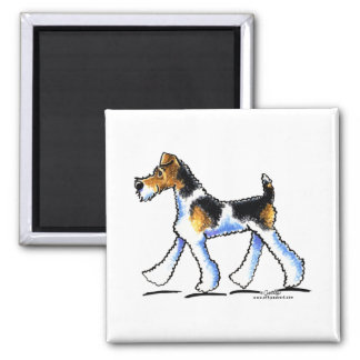 Wire Fox Terrier Trot 2 Inch Square Magnet