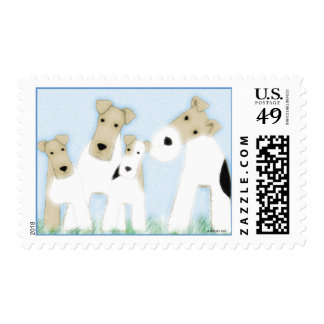 Wire Fox Terriers Postage Stamp