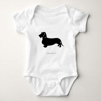 Wire Hair Dachshund silhouette v3 Baby Bodysuit