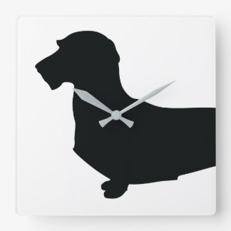 Wire Hair Dachshund Silhouette Wall Clock