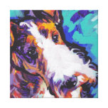 Wire hair Fox Terrier Bright Colorful Pop Dog Art Stretched Canvas Print
