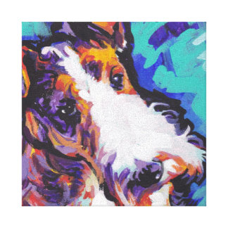 Wire hair Fox Terrier Bright Colorful Pop Dog Art Canvas Print