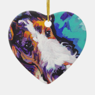 Wire hair Fox Terrier Bright Colorful Pop Dog Art Ceramic Ornament
