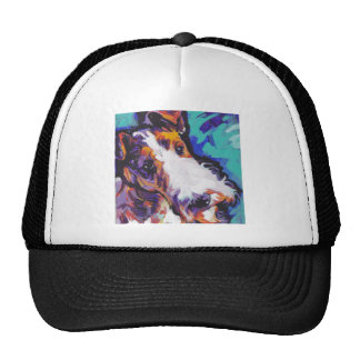 Wire hair Fox Terrier Bright Colorful Pop Dog Art Mesh Hats