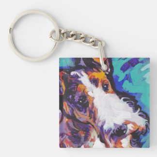 Wire hair Fox Terrier Bright Colorful Pop Dog Art Keychain