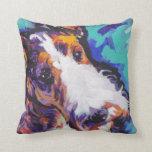 Wire hair Fox Terrier Bright Colorful Pop Dog Art Pillows