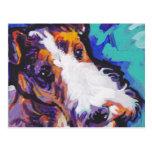 Wire hair Fox Terrier Bright Colorful Pop Dog Art Postcard