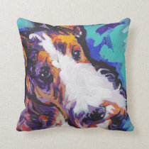 Wire hair Fox Terrier Bright Colorful Pop Dog Art Throw Pillow