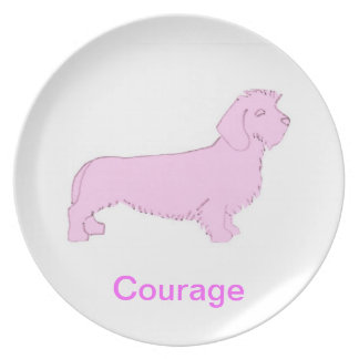 Wire Haired Dachshund Courage Cancer Awareness Pla Melamine Plate