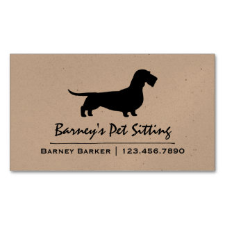 Wire Haired Dachshund Silhouette Business Card Magnet