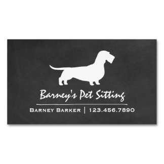 Wire Haired Dachshund Silhouette Chalkboard Style Business Card Magnet