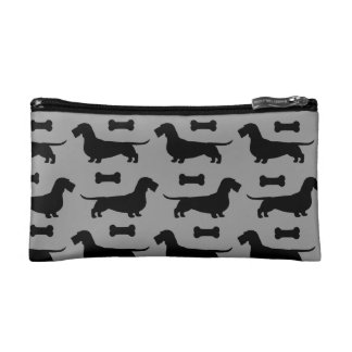 Wire Haired Dachshund Silhouettes Pattern Makeup Bags
