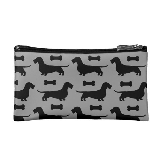Wire Haired Dachshund Silhouettes Pattern Cosmetic Bag