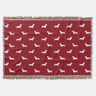 Wire Haired Dachshund Silhouettes Pattern Throw Blanket