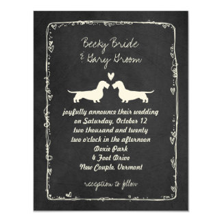 Wire Haired Dachshund Silhouettes Wedding 4.25x5.5 Paper Invitation Card