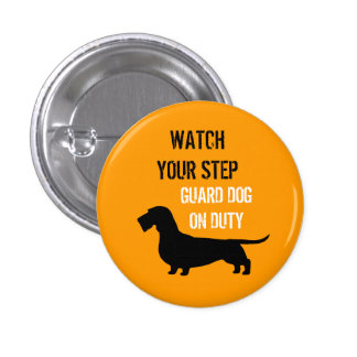 Wire Haired Dachshund Watch Your Step 1 Inch Round Button