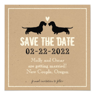Wire Haired Dachshunds Wedding Save the Date 5.25x5.25 Square Paper Invitation Card