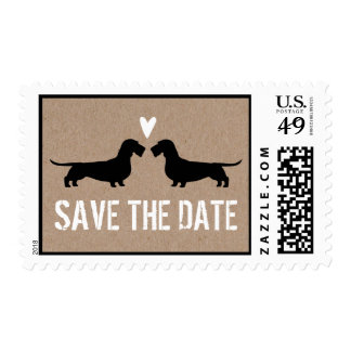 Wire Haired Dachshunds Wedding Save the Date Postage Stamps
