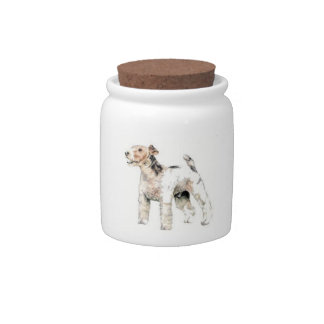 Wire Haired Fox Terrier Candy Jar