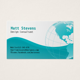 Wire Turquoise Globe Americas Business Card