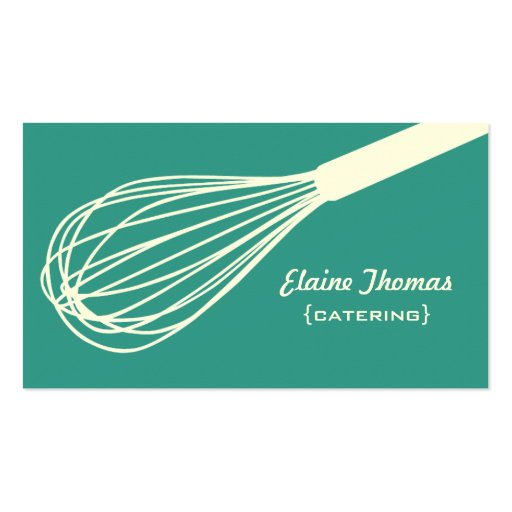 Wire Whisk Catering Card Teal Business Cards