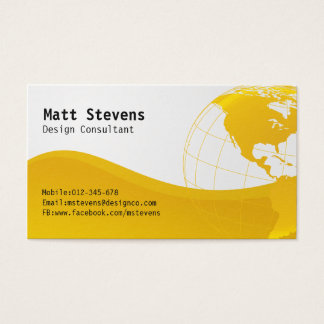 Wire Yellow Globe Americas Business Card